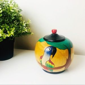 Vintage Hand Painted Wooden Trinket Box with Lid